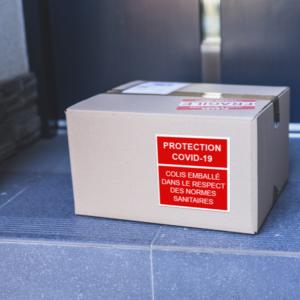 Étiquette carton covid safe