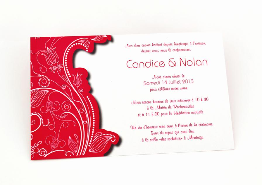carte de mariage rouge simple personnalisé impression direct – imprimeur vendée 4