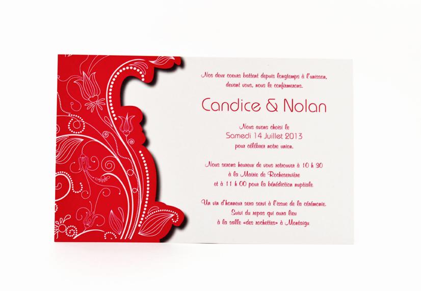 carte de mariage rouge simple personnalisé impression direct – imprimeur vendée 3