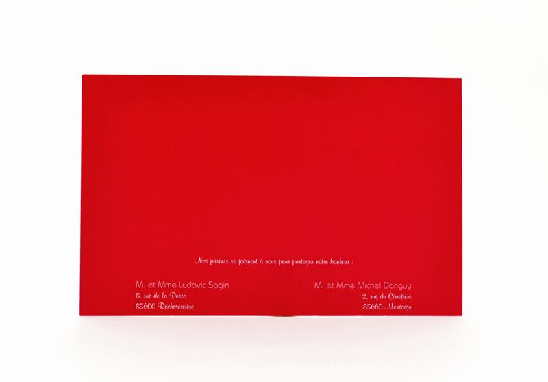 carte de mariage rouge simple personnalisé impression direct – imprimeur vendée 2