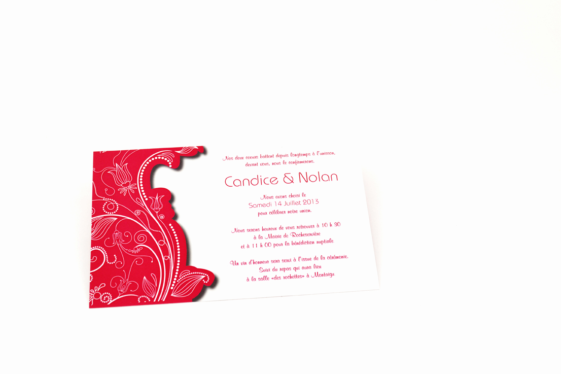 carte de mariage rouge simple personnalisé impression direct – imprimeur vendée