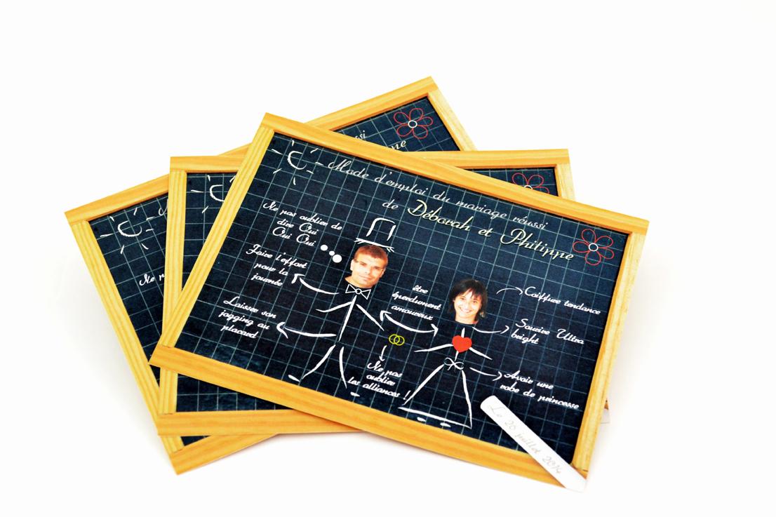 carte de mariage tableau noir personnalisé impression direct – imprimeur vendée 2
