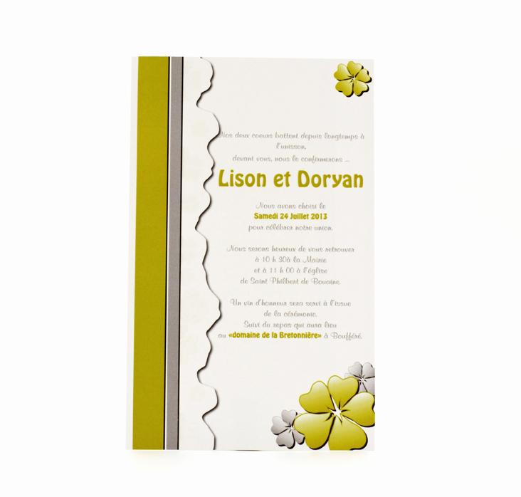 carte de mariage simple verte personnalisé impression direct – imprimeur vendée 3