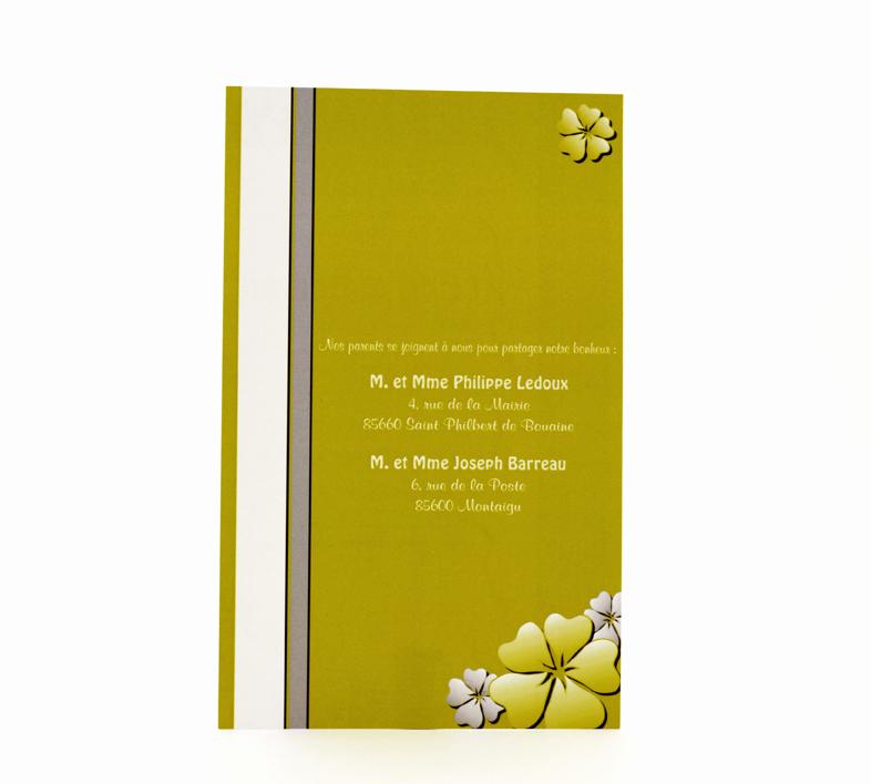 carte de mariage simple verte personnalisé impression direct – imprimeur vendée 2