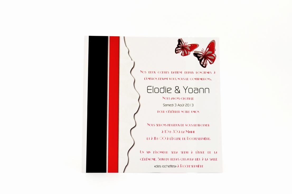 carte mariage chic rouge papillon personnalisé impression direct – imprimeur vendée