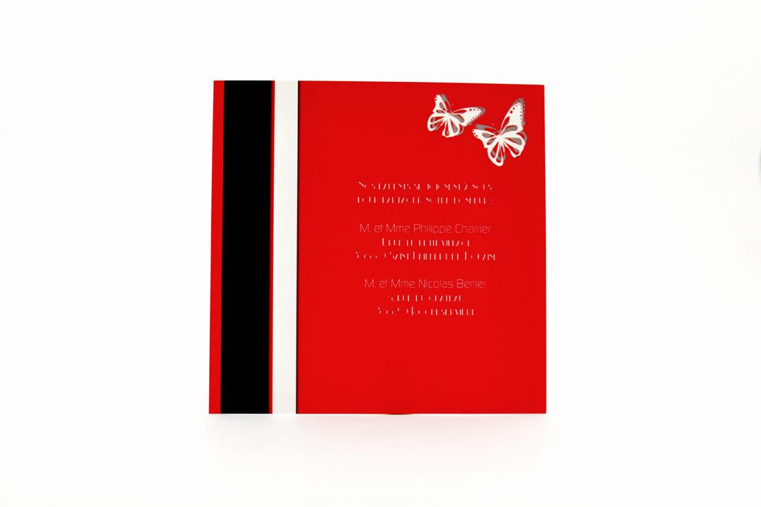 faire part mariage chic rouge papillon personnalisé impression direct – imprimeur vendée