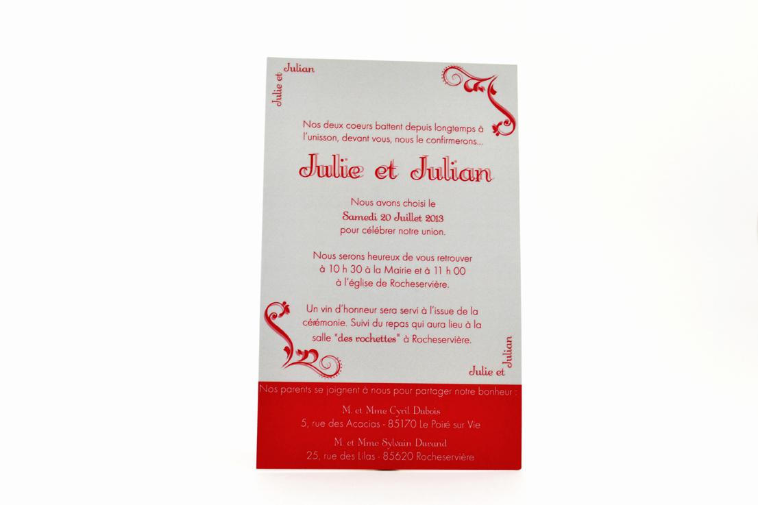 faire part mariage chic rouge personnalisé impression direct – imprimeur vendée
