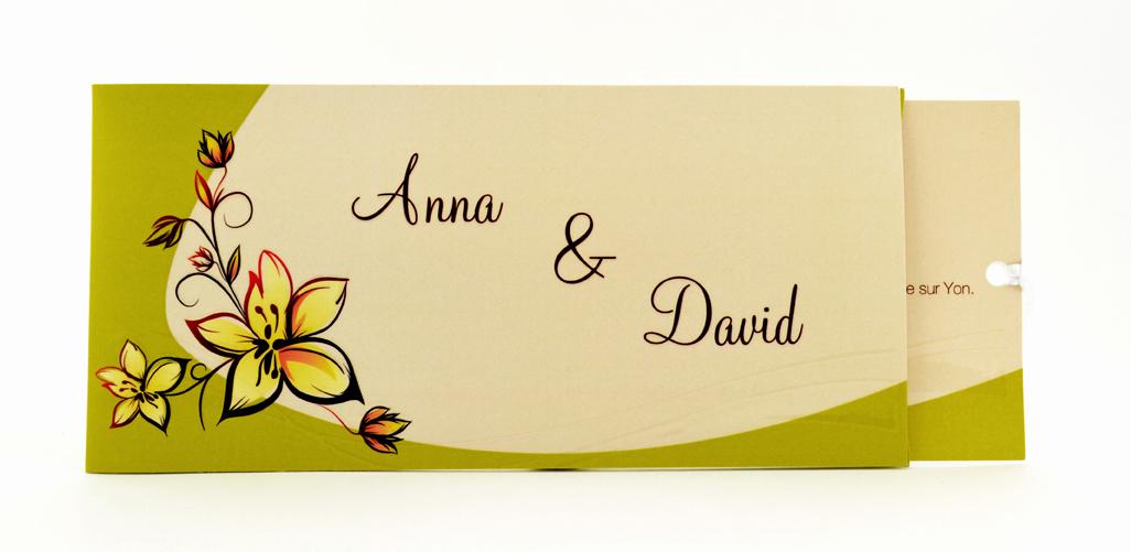 faire part mariage crème et vert personnalisé impression direct – imprimeur vendée 3