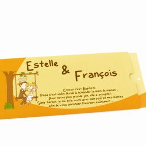 faire part mariage dessin jaune personnalisé impression direct – imprimeur vendée