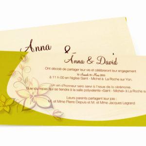 faire part mariage crème et vert personnalisé impression direct – imprimeur vendée