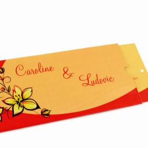faire part mariage orange et rouge personnalisé impression direct – imprimeur vendée
