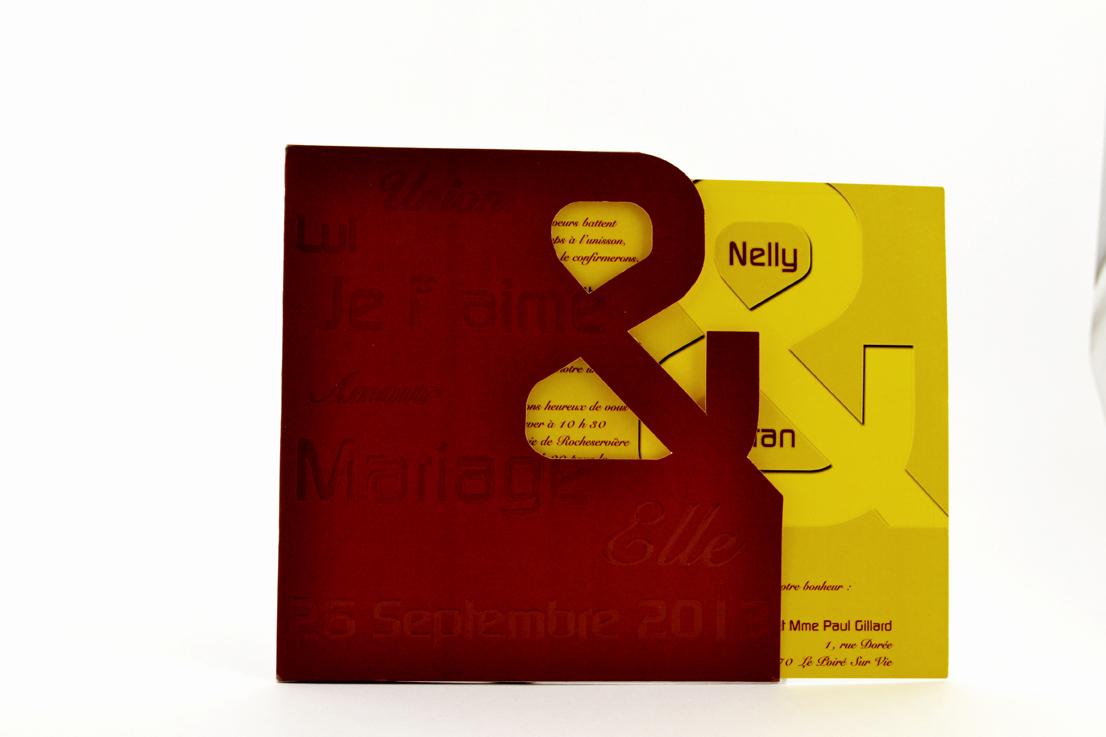 faire part mariage jaune personnalisé impression direct – imprimeur vendée 2