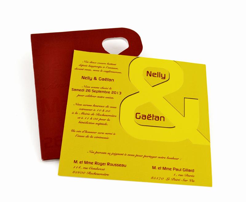 faire part mariage jaune personnalisé impression direct – imprimeur vendée