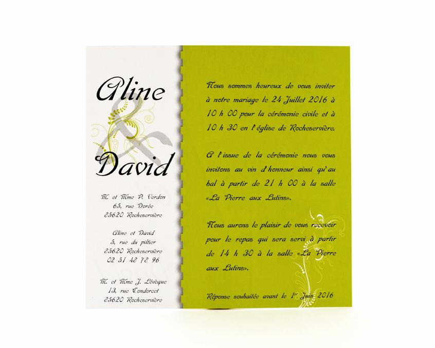 carte de mariage vert personnalisé impression direct – imprimeur vendée 2