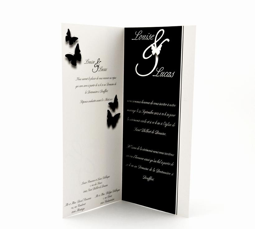faire part mariage chic noir papillon personnalisé impression direct – imprimeur vendée