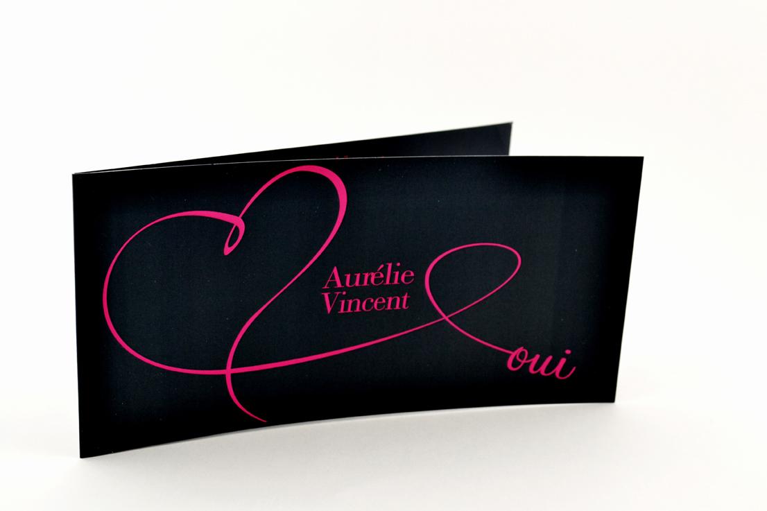 faire part mariage chic noir coeur rose personnalisé impression direct – imprimeur vendée 2