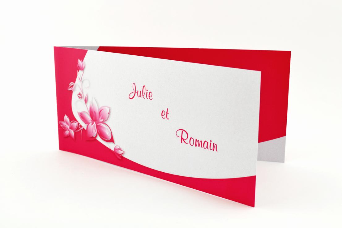 faire part mariage chic fleur rouge personnalisé impression direct – imprimeur vendée
