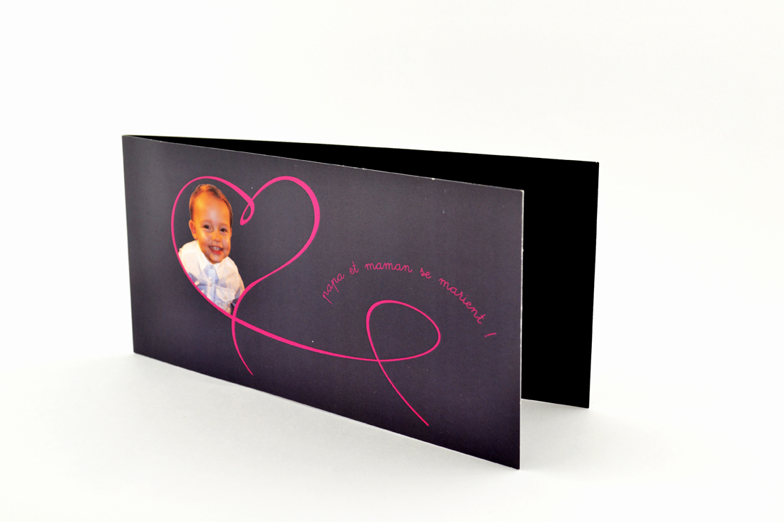 faire part mariage chic noir coeur rose photo personnalisé impression direct – imprimeur vendée