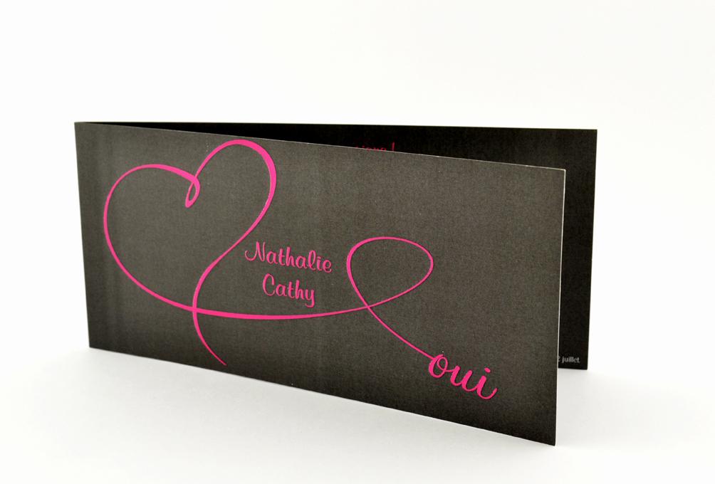faire part mariage chic noir coeur rose personnalisé impression direct – imprimeur vendée