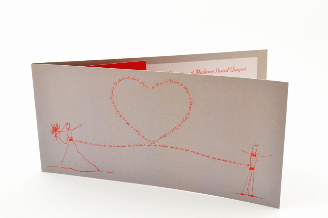 faire part mariage chic mot coeur rouge personnalisé impression direct – imprimeur vendée