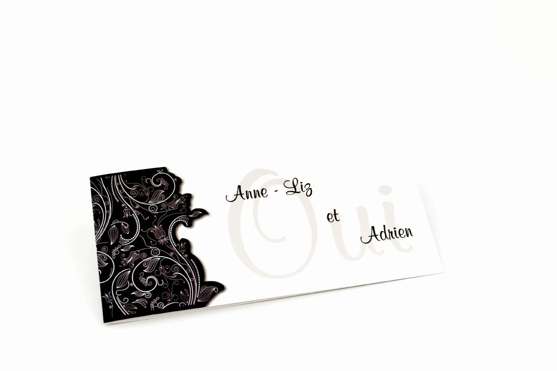 faire part brodé noir personnalisé impression direct – imprimeur vendée 2