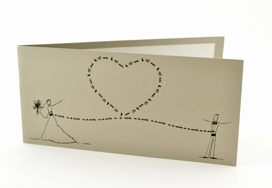 faire part mariage chic mot coeur noir personnalisé impression direct – imprimeur vendée