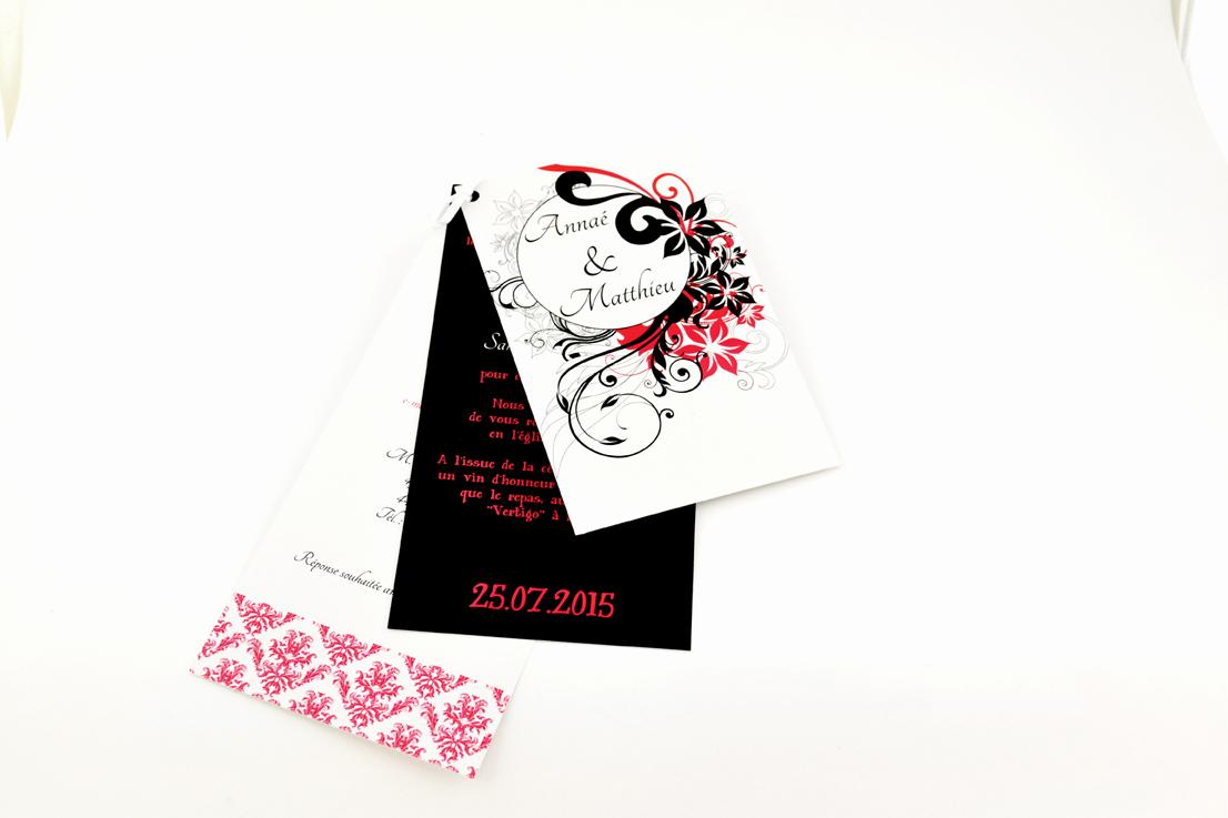 faire part mariage chic noir floral personnalisé impression direct – imprimeur vendée 2
