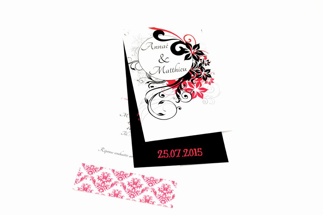 faire part mariage chic noir floral personnalisé impression direct – imprimeur vendée