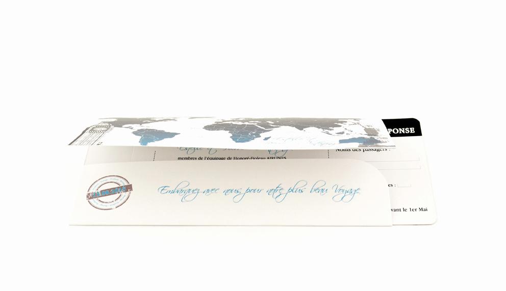 faire part mariage ticket avion bleu personnalisé impression direct – imprimeur vendée 3