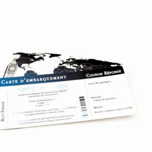 faire part mariage ticket avion bleu personnalisé impression direct – imprimeur vendée 2
