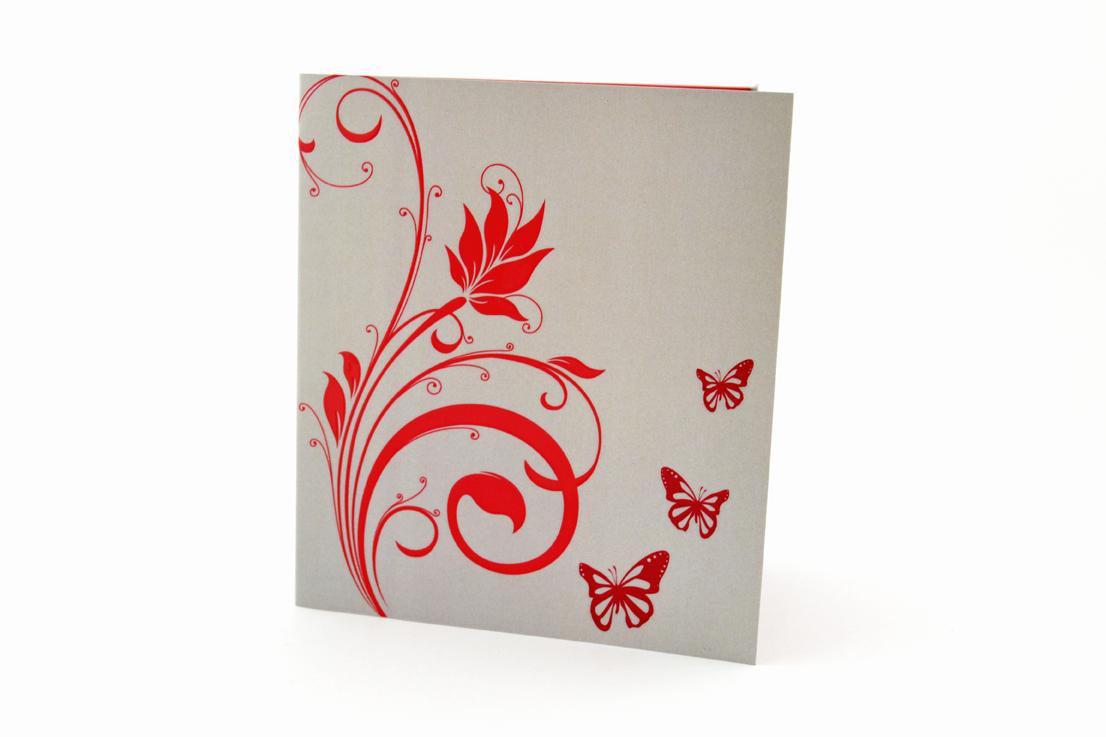 faire part mariage champêtre fleur rouge papillon personnalisé impression direct – imprimeur vendée 5