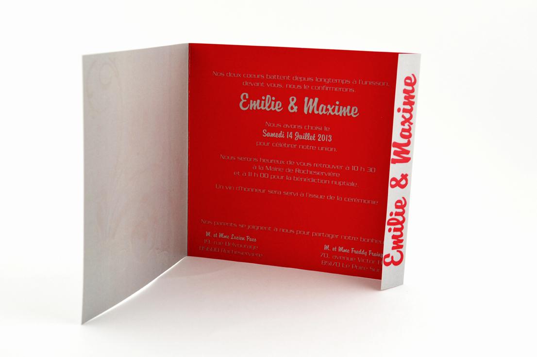 faire part mariage champêtre fleur rouge papillon personnalisé impression direct – imprimeur vendée 4