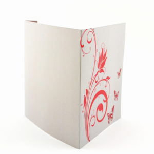 faire part mariage champêtre fleur rouge papillon personnalisé impression direct – imprimeur vendée