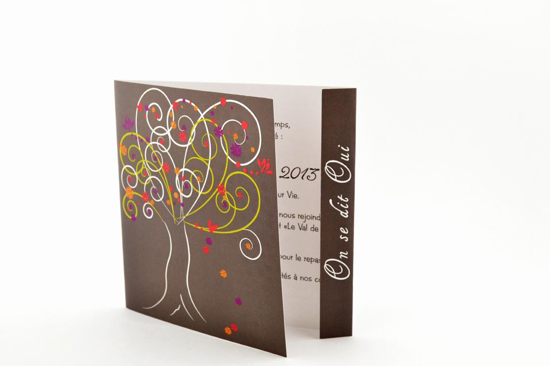 faire part mariage champêtre arbre multicolor personnalisé impression direct – imprimeur vendée 2