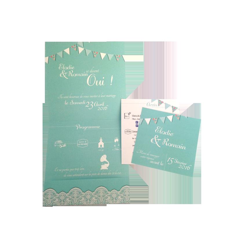 faire part mariage champêtre bleu personnalisé impression direct – imprimeur vendée 2