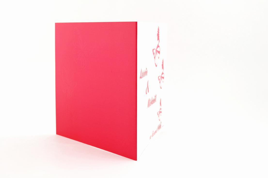 faire part mariage chic papillon rouge personnalisé impression direct – imprimeur vendée 2
