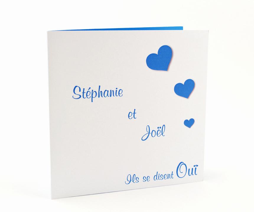 faire part mariage blanc coeur bleu personnalisé impression direct – imprimeur vendée
