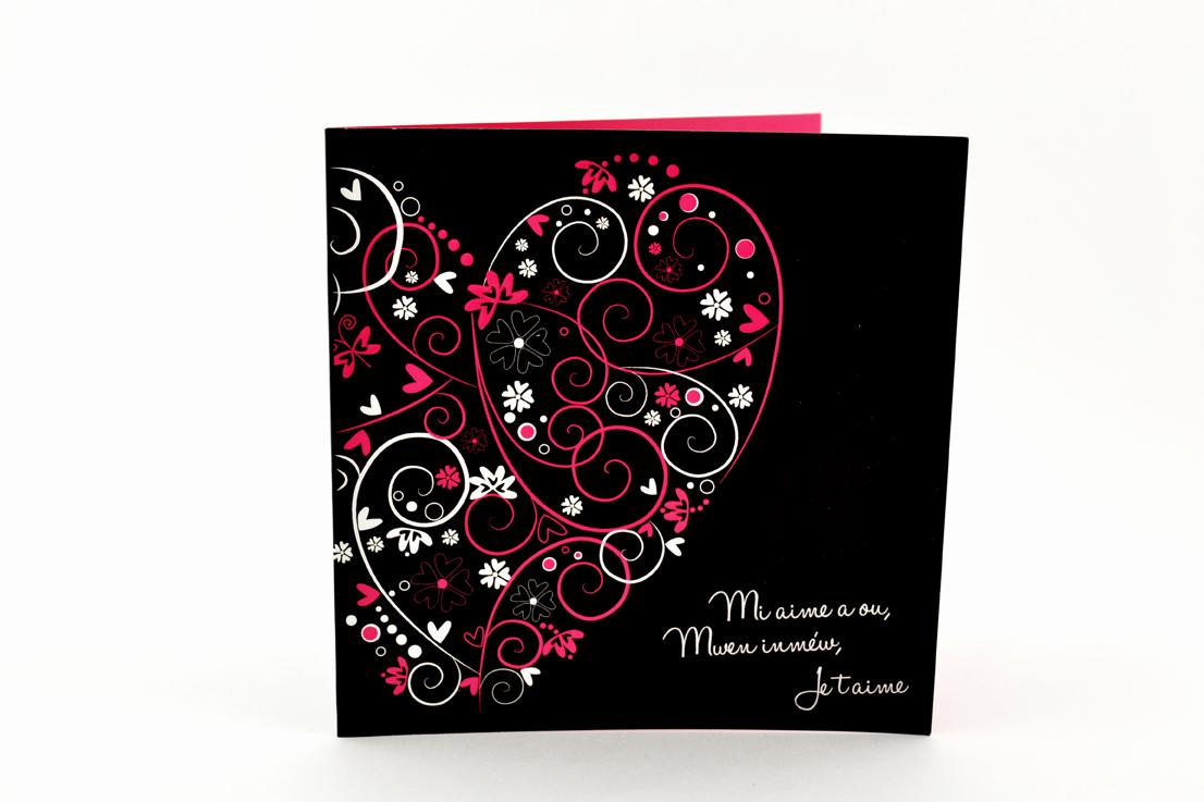 faire part mariage chic coeur rose et noir personnalisé impression direct – imprimeur vendée