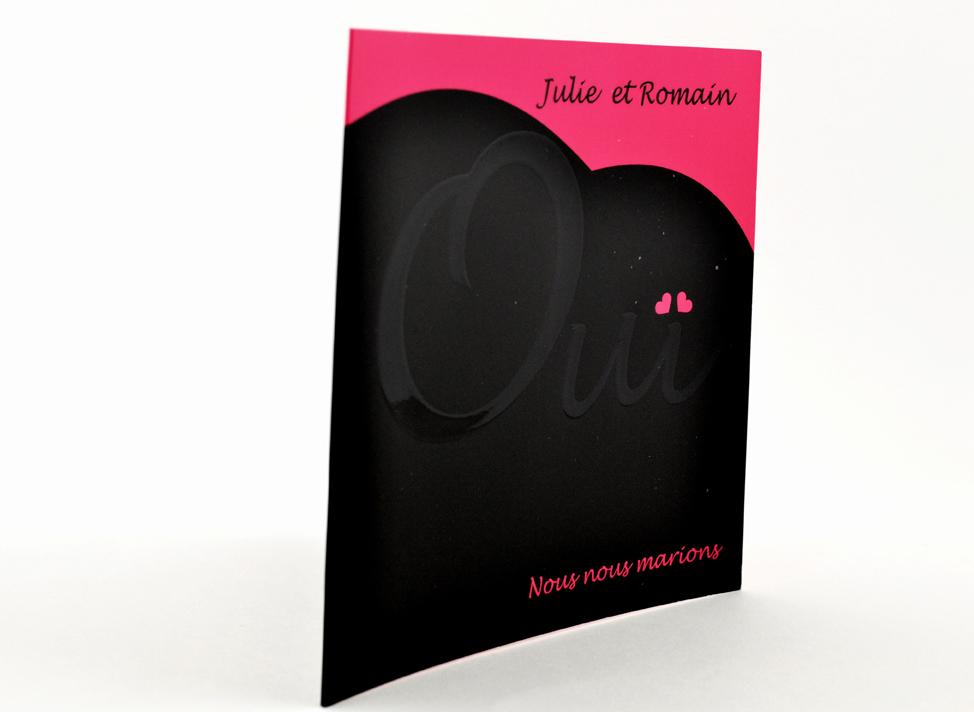 faire part mariage chic rose et noir personnalisé impression direct – imprimeur vendée 3