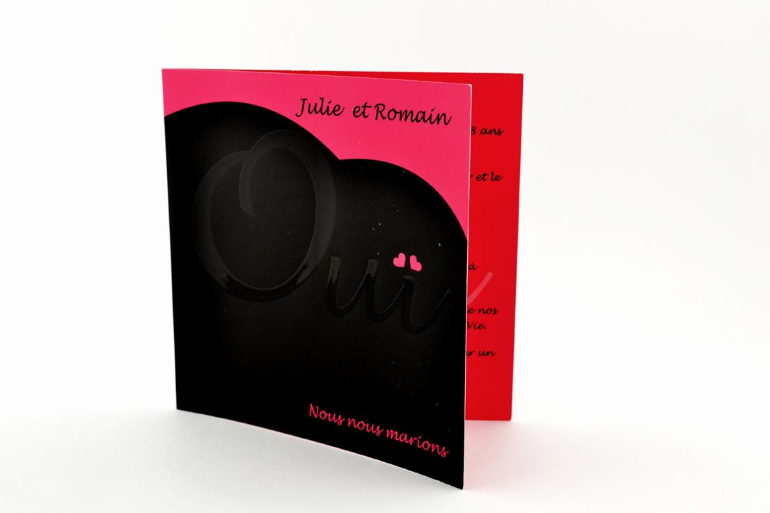 faire part mariage chic rose et noir personnalisé impression direct – imprimeur vendée 2