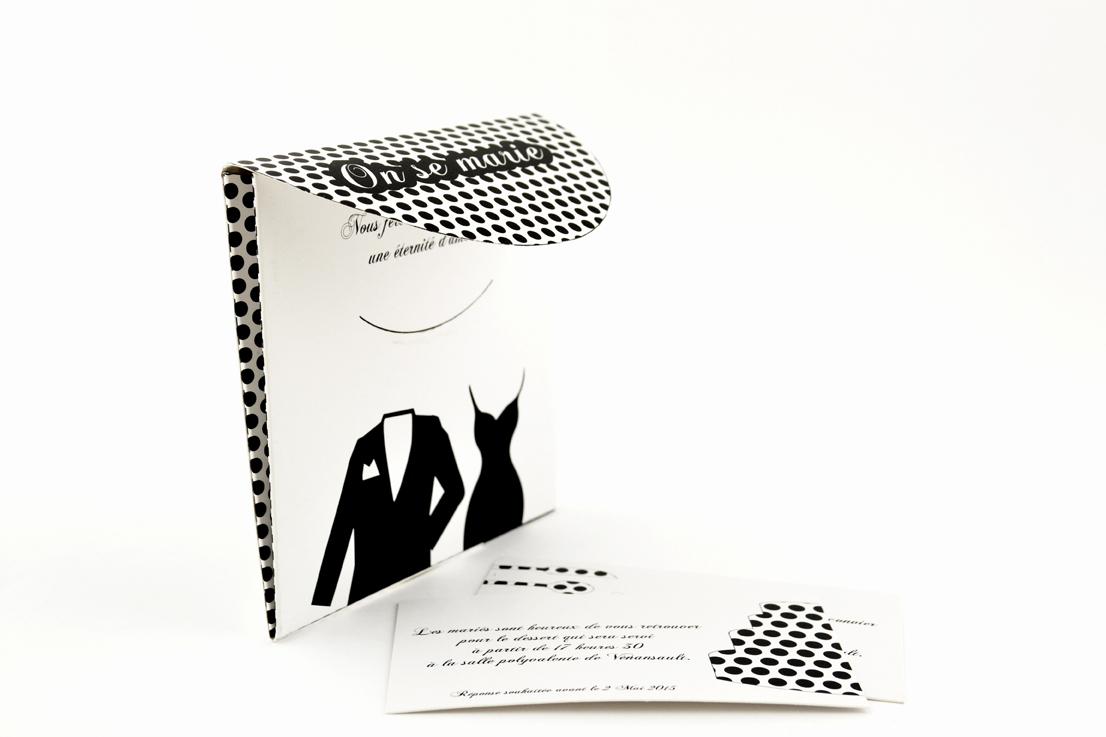 faire part mariage champêtre noir et blanc personnalisé impression direct – imprimeur vendée 3