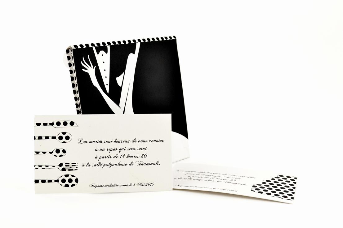 faire part mariage champêtre noir et blanc personnalisé impression direct – imprimeur vendée 2