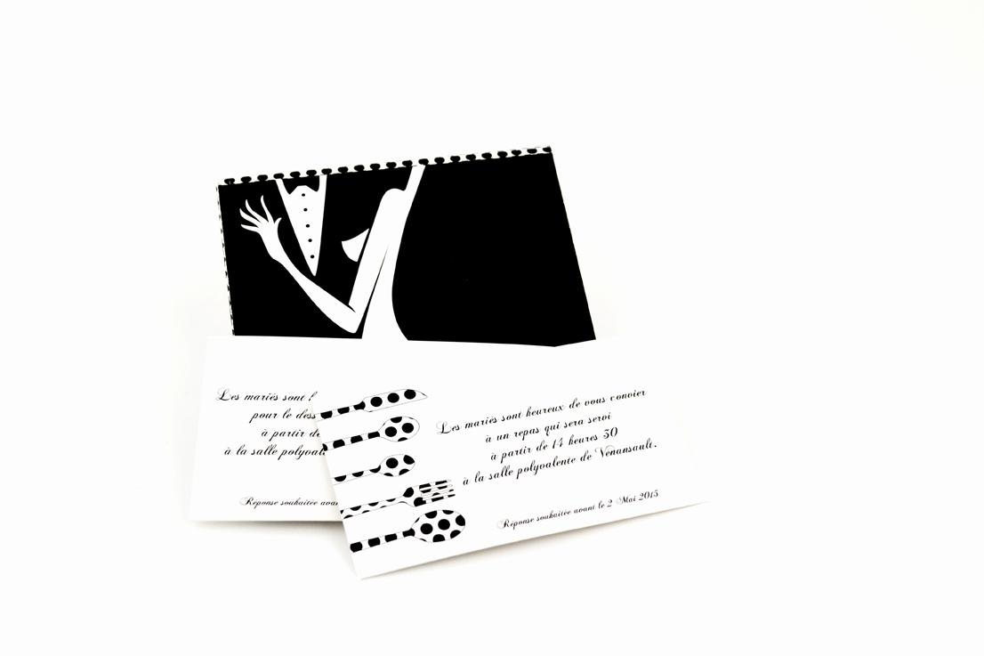 faire part mariage champêtre noir et blanc personnalisé impression direct – imprimeur vendée