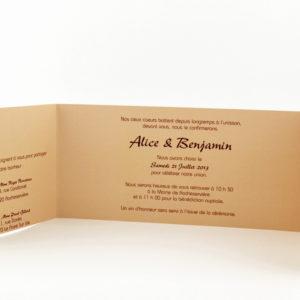 faire part mariage chic marron personnalisé impression direct – imprimeur vendée 2