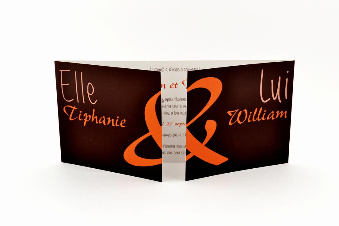 faire part mariage chic marron orange personnalisé impression direct – imprimeur vendée