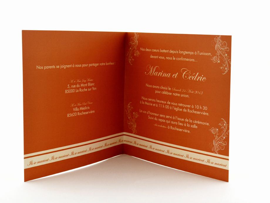 faire part mariage chic orange personnalisé impression direct – imprimeur vendée