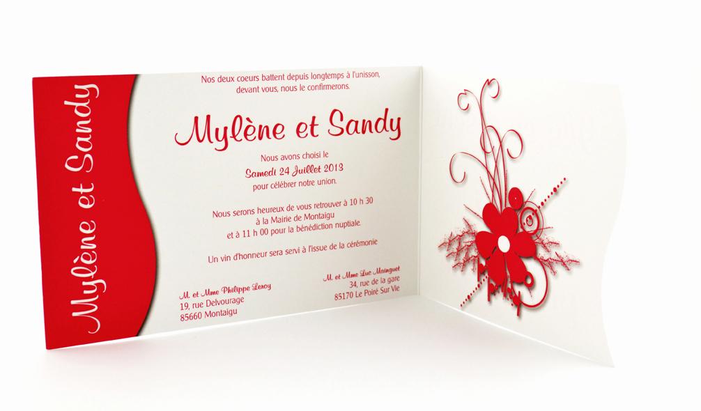 faire part mariage rouge simple personnalisé impression direct – imprimeur vendée 2