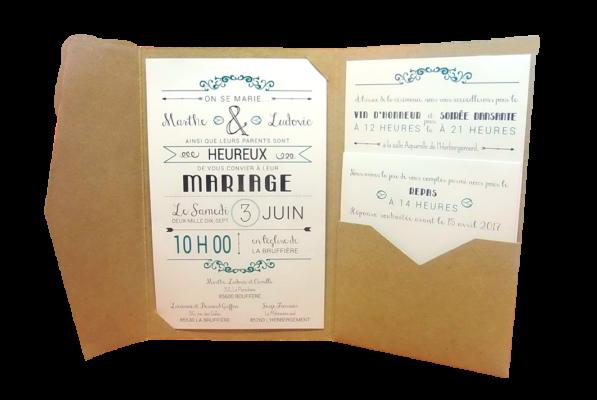 faire part mariage kraft enveloppe bleu personnalisé impression direct – imprimeur vendée 2