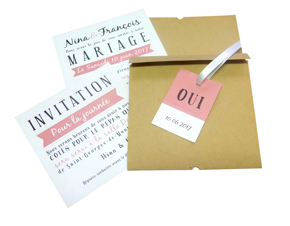 faire part mariage enveloppe kraft ruban personnalisé impression direct – imprimeur vendée 3