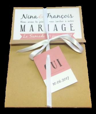 faire part mariage enveloppe kraft ruban personnalisé impression direct – imprimeur vendée 2